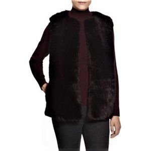 Pink Tartan Faux Fur Coat Oxblood Oversized Vest